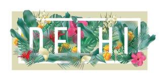 Wektorowa kwiecista obramiająca typograficzna DELHI miasta grafika Fotografia Royalty Free