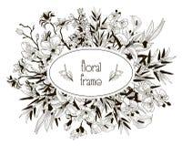 Wektorowa Kwiecista rama z kwiatami, gałąź, liście Obrazy Royalty Free