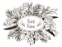 Wektorowa Kwiecista rama z kwiatami, gałąź, liście Zdjęcie Royalty Free