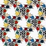 Wektorowa lampart skóra i kwiatu bezszwowy wzór Ręka malująca ilustracja na geometrycznym tle eps10 royalty ilustracja