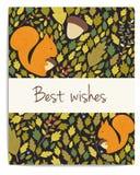 Wektorowa las karta z acorns, liśćmi i wiewiórką, ilustracji