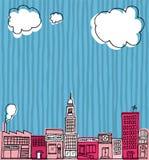 Wektorowa linii horyzontu ręka rysująca, kreskówki sąsiedztwo, miasto/lub Obrazy Stock