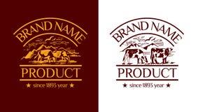 Wektorowa logotyp ilustracja z krajobrazem z kracze Fotografia Stock