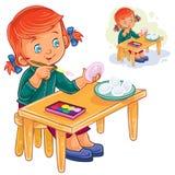 Wektorowa mała dziewczynka barwi Wielkanocnych jajka z kolorowymi farbami ilustracja wektor