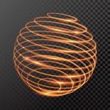 Wektorowa magiczna złota światła śladu okręgu wiosny kuli ziemskiej sfera Zdjęcie Stock