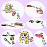 Wektorowa Makeup tutorial ilustracja Obrazy Royalty Free