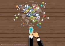 Wektorowa mapa świat komunikacj mobilnych biznesu, handlu, marketingu i globalnego biznesu ikon płaski projekt, Obrazy Stock