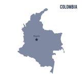 Wektorowa mapa Kolumbia odizolowywał na białym tle Zdjęcia Royalty Free