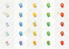 Wektorowa mapa Przyczepia pointeru wektoru set Obraz Stock