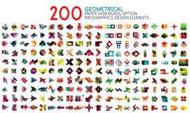 Wektorowa mega kolekcja geometryczni papieru stylu sztandaru szablony z próbek opcjami i tekstem ilustracja wektor