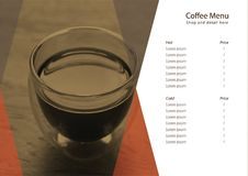 Wektorowa menu kawa dla sklep z kawą Fotografia Stock