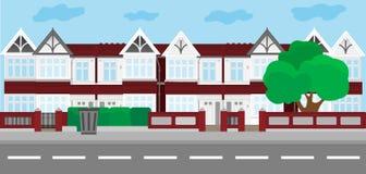 Wektorowa miasto ilustracja w płaskim prostym stylu, domy na horyzontalnym sztandarze - strona internetowa chodnikowowie ilustracji