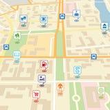 Wektorowa miasto mapa z wałkowymi lokacja pointerami Obrazy Stock