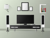 Wektorowa Minimalistyczna nowożytna bielu TV półka z książkami Obraz Royalty Free