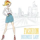 Wektorowa moda biznesu dziewczyna w obronie ilustracja wektor