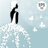 Wektorowa mody ilustracja młoda panna młoda z motylami Bridal prysznic Fotografia Royalty Free
