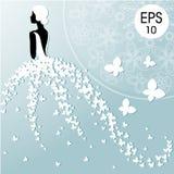 Wektorowa mody ilustracja młoda panna młoda z motylami Bridal prysznic Obraz Stock