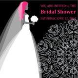 Wektorowa mody ilustracja młody panny młodej mienie kwitnie Bridal prysznic Zdjęcie Royalty Free