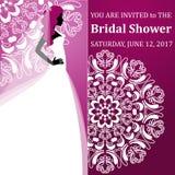 Wektorowa mody ilustracja młody panny młodej mienie kwitnie Bridal prysznic tła eleganci serc zaproszenia romantycznego symbolu c Obrazy Royalty Free
