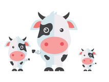 Wektorowa nabiał krowa lub nabiałów bydło na białym tle ilustracji