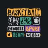 Wektorowa nakreślenie ilustracja dla koszykówki Druku projekt dla koszulek, plakaty zdjęcia stock