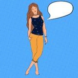 Wektorowa nastoletnia dziewczyna z długie włosy i chocker na jej szyi Charakter ilustracja z bąblem dla teksta ilustracji
