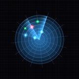 Wektorowa Neonowa Błękitna Radarowa ilustracja, Ciemny siatki tło ilustracji