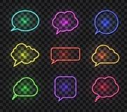 Wektorowa Neonowa rozmowa Gulgocze Vollection, Różnych kolorów mowy Jaskrawi pudełka, projektów elementów kolekcja, Odizolowywają ilustracja wektor