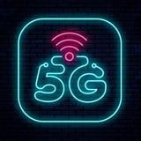 Wektorowa neonowego znaka 5G sieć ilustracji