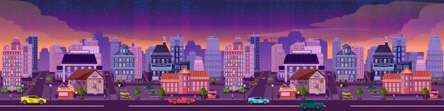 Wektorowa nocy miasta ilustracja z neonową łuną i żywymi kolorami Obraz Stock