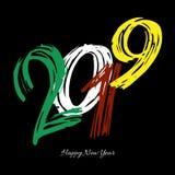 Wektorowa nowożytna minimalistic Szczęśliwa nowy rok karta dla 2019 z główną dużą ręką pisać styl liczbach - ciemna wersja Obraz Royalty Free