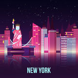 Wektorowa Nowy Jork nocy miasta ilustracja z neonową łuną i żywi kolory z odbiciami ilustracja wektor