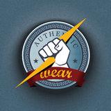 Wektorowa odznaka na pasiastym deseniowym tle Obraz Royalty Free
