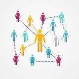Wektorowa Ogólnospołeczna sieć z sylwetek ikonami Fotografia Stock