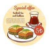 Wektorowa okręgu menu karty ilustracja z gorącą herbatą i sławnym deserowym Baklava Zdjęcia Royalty Free