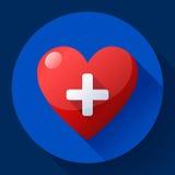 Wektorowa opieki zdrowotnej ikona, bielu krzyż w czerwonym sercu Obrazy Stock