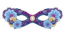 Wektorowa Ozdobna Barwiona ostatki karnawału maska z Dekoracyjnymi kwiatami ilustracja wektor