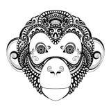 Wektorowa Ozdobna małpy głowa ilustracja wektor