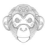 Wektorowa Ozdobna małpy głowa ilustracji