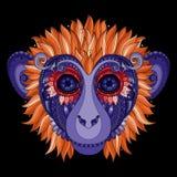 Wektorowa Ozdobna małpy głowa Obrazy Stock