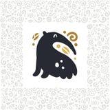 Wektorowa płaska śliczna śmieszna ręka rysująca anteater zwierzęca sylwetka odizolowywająca na białym tle Obrazy Royalty Free