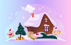 Wektorowa płaska Bożenarodzeniowa ilustracja z zima składem jedlinowy drzewo z prezentów pudełkami, imbiru dom na śnieżnych wzgór ilustracji
