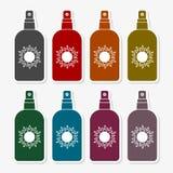 Wektorowa płaska butelka z słoneczną ochroną z setem 6 kolorów royalty ilustracja