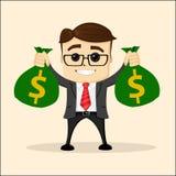 Wektorowa płaska ilustracja Biznes lub kierownik z torbą pieniądze Biznesmenów dolary Zdjęcia Stock