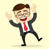 Wektorowa płaska ilustracja Biznesmena lub kierownika ono uśmiecha się szczęśliwy człowiek Zdjęcie Royalty Free