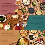 Wektorowa płaska ilustracja chińczyk, japończyk ilustracji