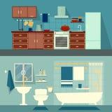 Wektorowa płaska ilustracja dla pokojów mieszkanie, dom Domowa wewnętrznego projekta kuchnia i kąpielowa nowożytna dekoracja z Fotografia Royalty Free