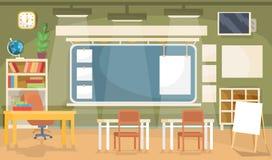 Wektorowa płaska ilustracja pusta sala lekcyjna w szkole, uniwersytet, szkoła wyższa, instytut Zdjęcie Stock
