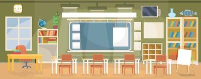 Wektorowa płaska ilustracja pusta sala lekcyjna w szkole, uniwersytet, szkoła wyższa, instytut Zdjęcie Royalty Free