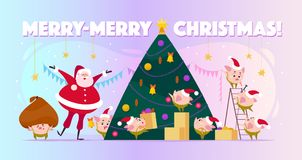 Wektorowa płaska ilustracja z Święty Mikołaj śmiechem i małym round świniowatym elfem w Santa kapeluszach dekoruje dużej choinki, ilustracja wektor